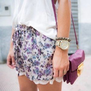 Zara Silky Floral Lace Trimmed Lounge Shorts